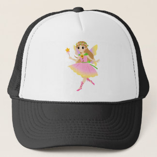 Young Fairy Girl in Pink Dress Holding Star Wand Trucker Hat