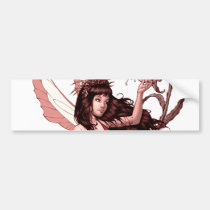 young, fairy, girl, flowers, fae, nymph, sprite, al rio, illustration, art, drawing, Bumper Sticker with custom graphic design