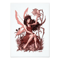 young, fairy, girl, flowers, fae, nymph, sprite, al rio, illustration, art, drawing, Convite com design gráfico personalizado