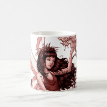 young, fairy, girl, flowers, fae, nymph, sprite, al rio, illustration, art, drawing, Mug with custom graphic design