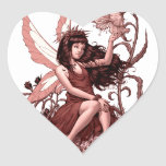 Young Fairy with Flowers by Al Rio Heart Sticker