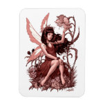 Young Fairy with Flowers by Al Rio Rectangular Magnet