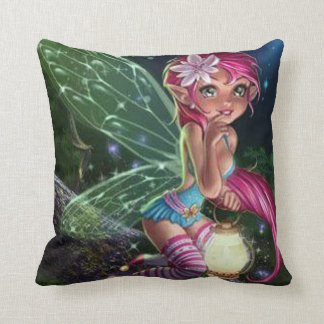 Young Fairy with lantern Throw Pillow