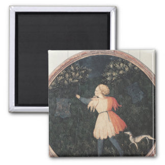 Young falconer, Florentine School 2 Inch Square Magnet