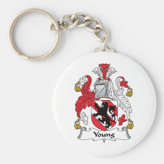 Young Family Crest Basic Round Button Keychain