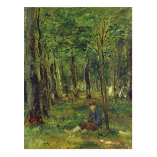 Young Farmer sitting in the Forest, 1878 Postcard