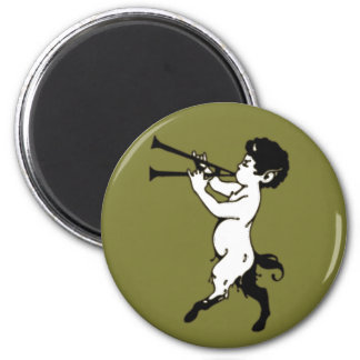 Young Faun With Double Flute 2 Inch Round Magnet