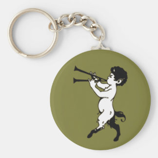 Young Faun With Double Flute Basic Round Button Keychain