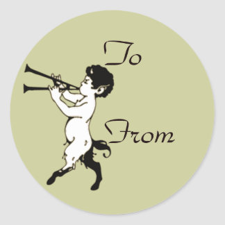 Young Faun With Double Flute Clr Classic Round Sticker