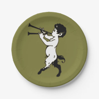 Young Faun With Double Flute Paper Plate