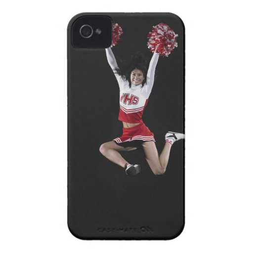 Young female cheerleader jumping in midair, arms iPhone 4 Case-Mate cases