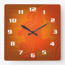 Young Female Illustration With wavy Hair Gorgeous Square Wall Clock