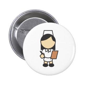 Young Female Nurse Icon Pinback Button