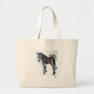 Young Foal Dartmoor Horse Painting Large Tote Bag