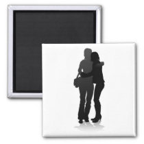 Young Friends Silhouette Magnet