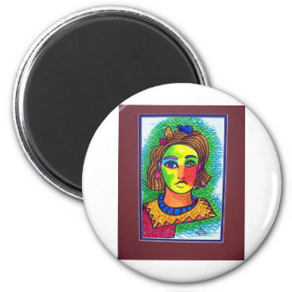 Young Girl  15 by Piliero 2 Inch Round Magnet