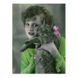 Young Girl and Cat Vintage Glamour Photo Postcard