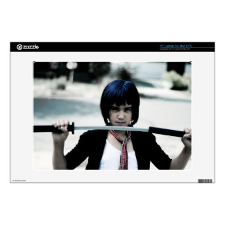 Young girl assassin with katana decal for laptop