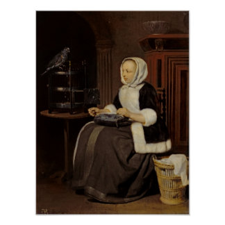 Young Girl at Work Poster