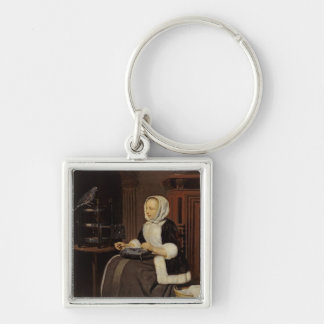 Young Girl at Work Silver-Colored Square Keychain