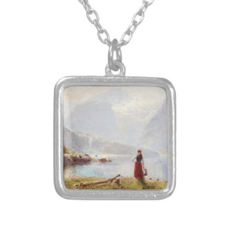 Young Girl Beside the Fjord Silver Plated Necklace
