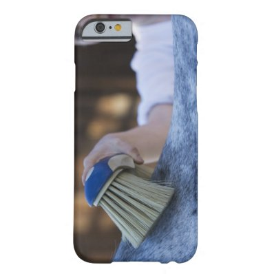 young girl brushing white horse barely there iPhone 6 case