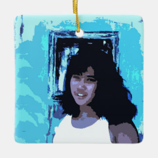Young Girl by Old Blue Door Ceramic Ornament