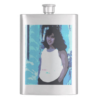 Young Girl by Old Blue Door Hip Flask
