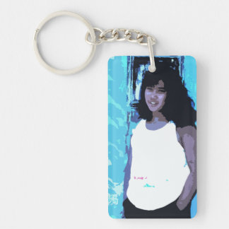 Young Girl by Old Blue Door Keychain