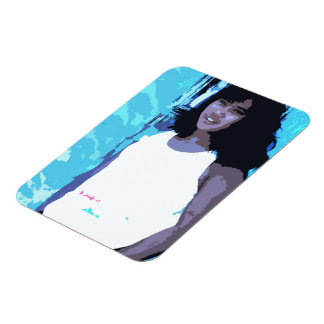 Young Girl by Old Blue Door Magnet