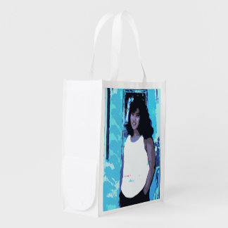 Young Girl by Old Blue Door Reusable Grocery Bag