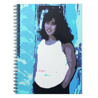 Young Girl by Old Blue Door Spiral Notebook