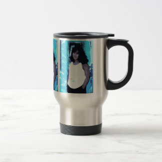 Young Girl by Old Blue Door Travel Mug