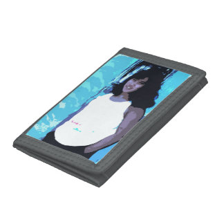 Young Girl by Old Blue Door Tri-fold Wallets