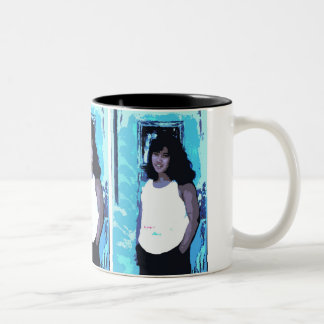 Young Girl by Old Blue Door Two-Tone Coffee Mug