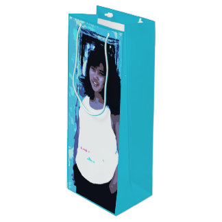 Young Girl by Old Blue Door Wine Gift Bag