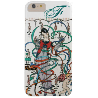 YOUNG GIRL ,COLORFUL RIBBON SWIRLS ,CUPID Monogram Barely There iPhone 6 Plus Case