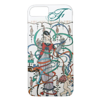 YOUNG GIRL ,COLORFUL RIBBON SWIRLS ,CUPID Monogram iPhone 8/7 Case