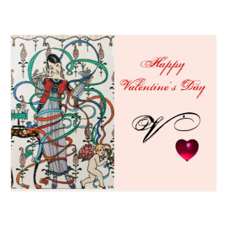 YOUNG GIRL,COLORFUL RIBBON SWIRLS,CUPID Valentine Postcard