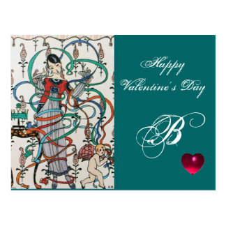 YOUNG GIRL,COLORFUL RIBBON SWIRLS,CUPID Valentine Post Card