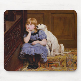 Young Girl & Dog - Sympathy by R. Briton Mouse Pad