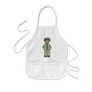 Young Girl dressed In a Soldiers Costume Kids' Apron