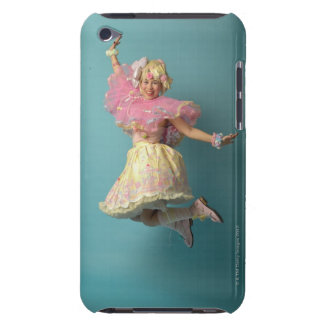 Young girl dressed up in colourful, doll-like, iPod touch cover