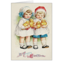 Young Girl Duck Easter Chick Card