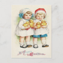 Young Girl Duck Easter Chick Holiday Postcard