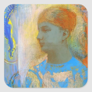 Young Girl Facing Left by Odilon Redon Sticker