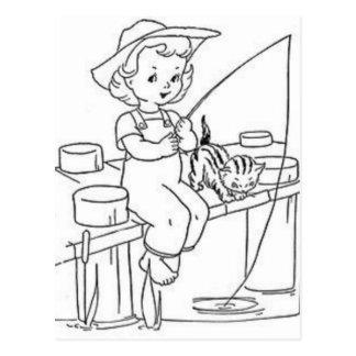 Young Girl Fishing Postcard