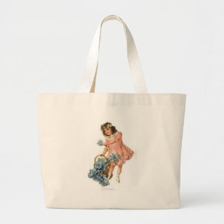 young girl gathering flowers canvas bags