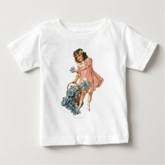 young girl gathering flowers tshirt