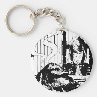 YOUNG GIRL GIVING THANKS KEYCHAIN
